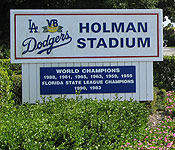 Former Holman Stadium sign in Vero Beach