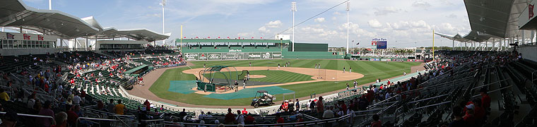 JetBlue Park, during batting practice prior to its debut game on March 3, 2012