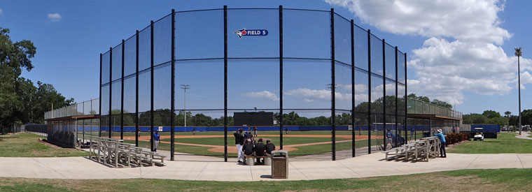 An extended spring training game field at the Blue Jays complex