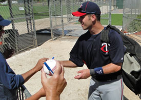 Joe Mauer Autographing Following A Practice In Fort Myers