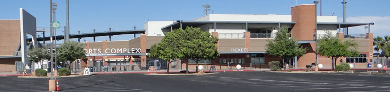 Parking lot, ticket office and main gate in Peoria