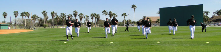 Pirates players warming up for the season in Bradenton